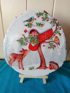 Logo slice decorated with an image of a deer and hedgehog. Log Slices, Hedgehog, Decoupage, Deer, Decorative Plates, Logo, Image, Home Decor, Logos