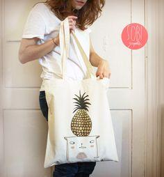 Tote Bag Pineapple Cat por Sobigraphie en Etsy