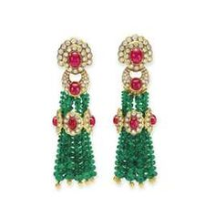 Elizabeth Taylor Emerald and Ruby Chandelier Earrings
