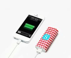 Fire Red Chevron Monogram Portable Power Bank Battery Charger for iPhone  and Samsung 81a6c6d70b54