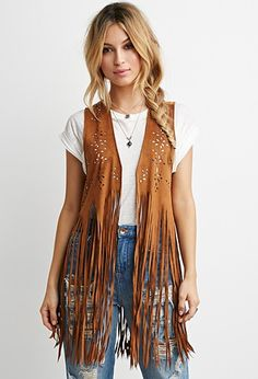 Perforated Faux Suede Fringed Vest | Forever 21 - 2000096617