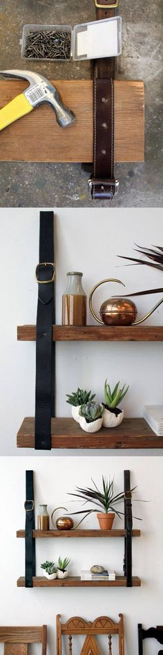 Estantería DIY con cinturones y tablas - blog.bettinaholst.dk - DIY Hanging Shelves