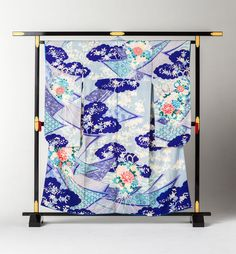 Japanese Kimono Furisode Kumodori Noshi ni Hana