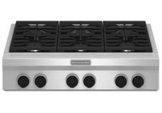 """KGCU467VSS - KitchenAid 36"""" Stainless Steel 6 Sealed Burner Gas Cooktop at Abt sale to 2300, 78 deliver w/in 150 (were w/in)"""
