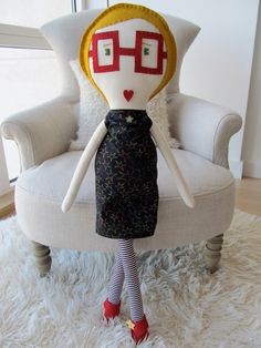 Love her!!  305'' Tall  Super Nerd Doll w/ Red Retro Glasses & by celinecnyc, $88.00