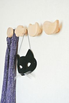SET OF 4 DECORATIVE BEECHWOOD WALL HOOKS $55 A cloud, a circle, a cat and a bird! Hang all your kids favorite belongings with this lovely set of Beechwood hooks. They will perfectly organize bags, coats and accessories. #hooks #decor #wood