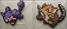 Perlers of Rattata and Raticate from Gen 1 Perlers made using menusprites from Gen 6 as a reference. Pokemon is owned by Nintendo Rattata Family Perlers Perler Bead Pokemon Patterns, Hama Beads Pokemon, Pokemon Craft, Melty Bead Patterns, Perler Bead Templates, Pearler Bead Patterns, Beading Patterns, Perler Bead Disney, Perler Bead Art
