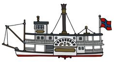 Hand drawing of a classic steam paddle riverboat vector illustration , Steam Boats, Paddle, How To Draw Hands, Ceiling Lights, River, Ship, Drawings, Classic, Illustration