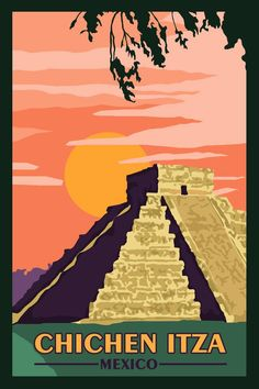 Chichen itza mexico - vintage travel poster in 2019 travel p Retro Poster, Poster Art, Poster Prints, Retro Print, Hawaii Vintage, Chichen Itza Mexico, Photo Vintage, Art Graphique, Mexico Travel