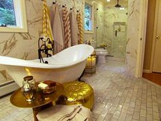 Genevieve Gorder bathroom- need to find those towels