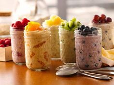 These are SO good, make them the night before and have a quick healthy breakfast ready to grab and go!! Be sure to SHARE!!  Overnight Oatmeal  INGREDIENTS 1 container (6 oz) greek yogurt, any flavor 1/4 cup uncooked old-fashioned or quick-cooking oats 1/4 cup fruit (see ideas below)  Instructions: In container with tight-fitting cover, mix yogurt and uncooked oats. Stir in desired fruit.  Cover n refrigerate at least 8 hours