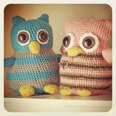 My two baby owls. - @emwie- #webstagram #crochet #owl