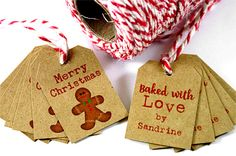 DOUBLE SIDED Baked With Love Tags - Baked With Love Labels - Shop Name Tags - Product Tags - Bakery Tags - Bakery Labels - Christmas Gift by TrocaderoKraft on Etsy