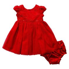 "Koala Baby Girls Red Rosette Short Sleeve Dress with Tulle Overlay and Panty Set - Babies R Us - Babies ""R"" Us"