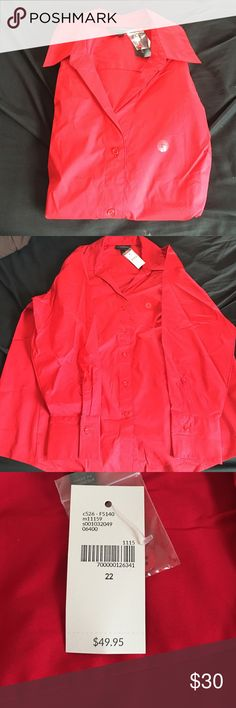 Red Button Down Dress Top Need a red top for work or want to add a pop of color to a suit? This bright red top is perfect! Lane Bryant Tops Button Down Shirts