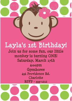 Pink and Green Mod Monkey Birthday Party Invitation, Party Decorations, Party Decorations by Cutie Patootie Creations  www.cutiepatootiecreations.com