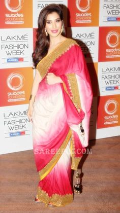 Sophie Chaudhary in a beautiful Vikram Phadnis #Saree at Lakme Fashion Week, 2013 https://www.facebook.com/vikramphadnis