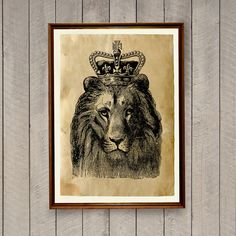 Lovely retro home decor in vintage style. Beautiful handmade vintage art print on old paper. Lion poster on antiqued paper. SIZE: 8.3 x 11.7 inches (A4