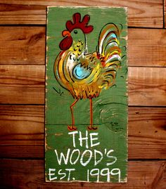 Wooden Signs, Wood Signs, Kitchen Art, Wood Art, Distressed Wood Sign Art: Rooster with Family name and Est Date. $49.00, via Etsy.