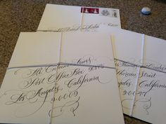 My sister! @Marlean Tucker A fabulous #calligrapher! (Flourished #Calligraphy on hand addressed  envelopes #ATLCalligrapher)