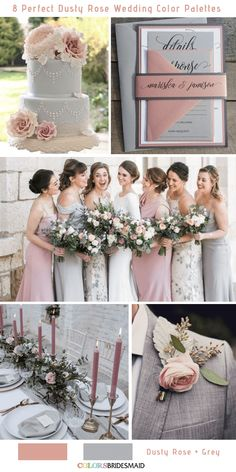 8 Perfect Dusty Rose Wedding Color Palettes for 2019 Dusty Rose and Grey . - - 8 Perfect Dusty Rose Wedding Color Palettes for 2019 Dusty Rose and Grey … 8 Perfect Dusty Rose Wedding Color Palettes for 2019 Dusty Rose and Grey Blush And Grey Wedding, Grey Wedding Theme, Gray Wedding Colors, Dusty Rose Wedding, Spring Wedding Colors, Wedding Themes, Wedding Ideas, Wedding Summer, Colour Themes For Weddings