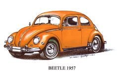 Learning to drive a stick on   Dad's orange Volkswagon Beetle