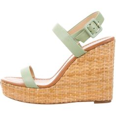 Pre-owned Kate Spade New York Woven Ankle Strap Wedges ($75) ❤ liked on Polyvore featuring shoes, sandals, green, green sandals, woven sandals, stacked heel sandals, ankle wrap sandals and wedges shoes