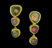 Carolyn Tyler 'Fishnet' Watermelon Tourmaline Earrings      12.26 carats of Watermelon Tourmaline bezel set in rich 22k gold with artistic detail. Simply beautiful.