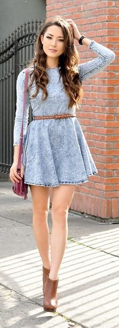 Teenage Fashion Blog: Little Washed Long Sleeve Denim Dress with Booties | Street Styles