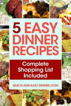 Free weekday dinner menu with organized printable shopping list - a gift from quick-and-easy-dinner.com
