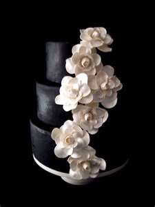 Black and White Gardenia Wedding Cake