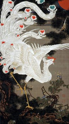 老松白鶏図 Loushou-Hakkei-zu (White Phoenix on Old Pine from the Colourful Realm of Living Beings) by 伊藤若冲 (Ito Jakuchu), 18C