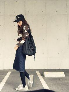 yurryさんのデニムスカート「しまむら 」を使ったコーディネート