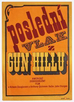 John Sturges's movie Last Train from Gun Hill, 1959 #movieposter designed by Miloslav Disman for Czechoslovakian audience in 1974.    #KirkDouglas #AnthonyQuinn #JohnSturges #TypographyPosters #Western  #MoviePosters #PosterArt #PosterDesign #Lettering #70sMoviePosters #VintageMoviePosters  jozefsquare.com