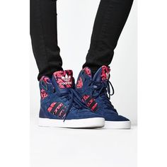 Adidas Baroque Ornament Spectra High-Top Sneakers ($80) ❤ liked on Polyvore featuring shoes, sneakers, lace up sneakers, lace up shoes, high top shoes, lace up high top sneakers and navy blue shoes