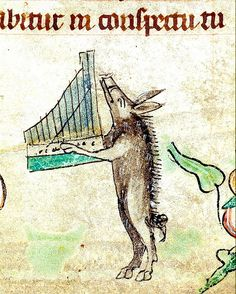 Boar playing music. England. detail. 1320-30. BL by tony harrison, via Flickr