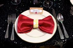 Hostess with the Mostess® - Puttin' on the Ritz theme - bow tie napkin but in black!