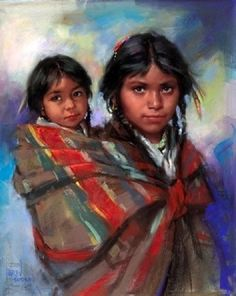 Indian mother and child By Harley Brown