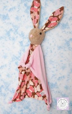 Bunny Blanky Natural Baby Toy Pink by PolarBearCreations on Etsy, $35.00