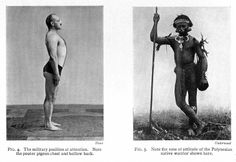 Comparative postures of a western military solider and and a Polynesian native warrior