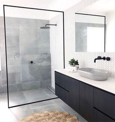 Bathroom inspiration by . Loving the black framed shower screen, contrast of tiles and concrete basin. Bathroom inspiration by . Loving the black framed shower screen, contrast of tiles and concrete basin. Ensuite Bathrooms, Laundry In Bathroom, Bathroom Renos, Bathroom Renovations, Bathroom Ideas, Bathroom Organization, Remodel Bathroom, Bathroom Cabinets, Marble Bathrooms