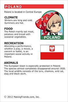 MakingFriends Facts about Poland Printable Thinking Day fact card for our passports. Perfect if you chose Poland for your Girl Scout Thinking Day or International Night celebration. Geography Worksheets, Teaching Geography, World Geography, Poland Culture, Culture Day, Culture Club, Poland Facts, Around The World Theme, Little Passports