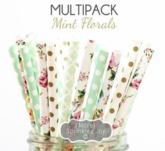 MINT FLORALS Paper Straws, Party Decor, Cake Pops, Vintage, Mint, Gold,Tea Party, Shower, Birthday Baby Shower, Bridal, Wedding, Baby