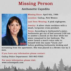 Visit our website for more information about this case. Pink Nightgown, Amber Alert, How To Iron Clothes, Missing Persons, Cold Case, Getting Out Of Bed, True Crime, New Mexico, Knock Knock