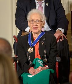 Former NASA mathematician Katherine Johnson is seen after President Barack Obama presented her with the Presidential Medal.