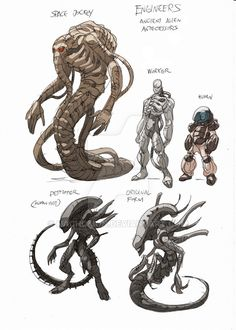 Alien Ancestor II by NachoMon on DeviantArt Humanoid Creatures, Alien Creatures, Fantasy Creatures, Mythical Creatures, Les Aliens, Aliens Movie, Dragon Rey, Giger Alien, Beast Creature