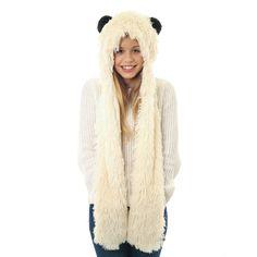 Fluffy Panda Hooded Scarf