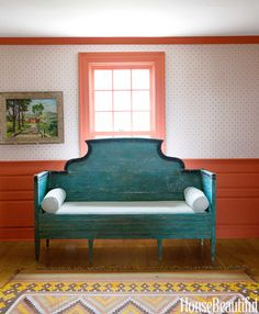 A Swedish settee in the front hall.