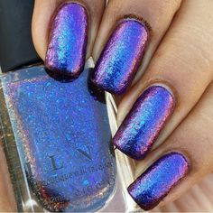Blue to Red Ultra Chrome Flakie Nail Polish Nail Polish Sale, Summer Nail Polish, Opi Polish, Manicure And Pedicure, Gel Nails, Pedicure Ideas, Love Nails, How To Do Nails, Royal Blue Nails