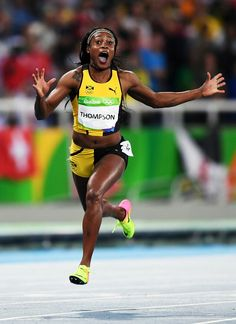Elaine Thompson of Jamaica wins Olympic gold in Women's 100 m dash at the Rio Olympics 2016.